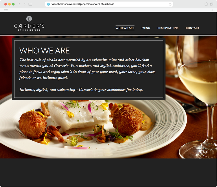 The Carver's Steakhouse website