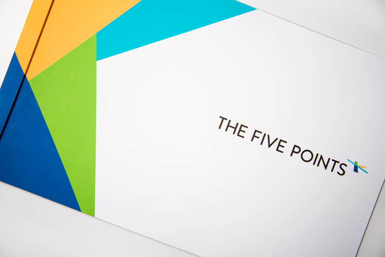 Outside front cover of the Five Points sales brochure.