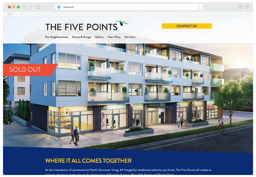 Screenshot of the main landing page of the Five Points website.