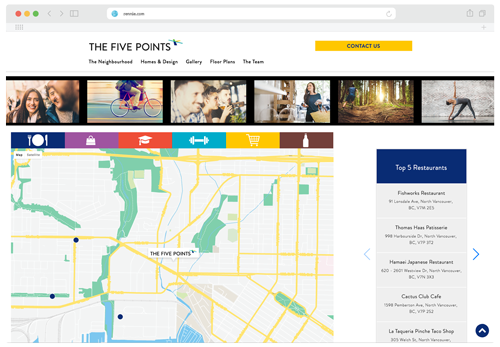 Screenshot of the map section of the Five Points website
