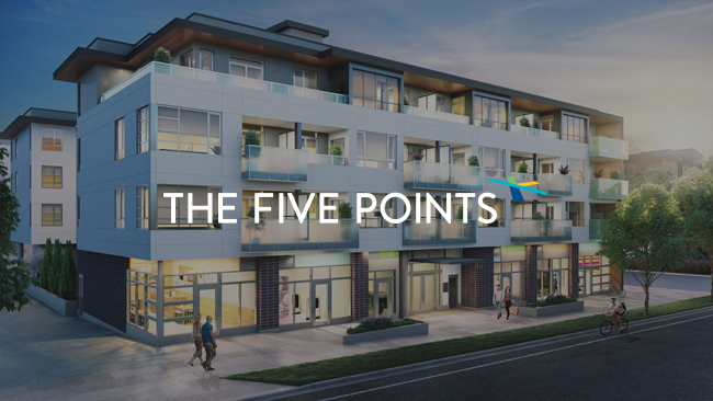Rendering of the exterior of The Five Points in North Vancouver