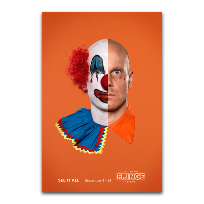 Poster of an inmate and a clown for the Vancouver Fringe Festival