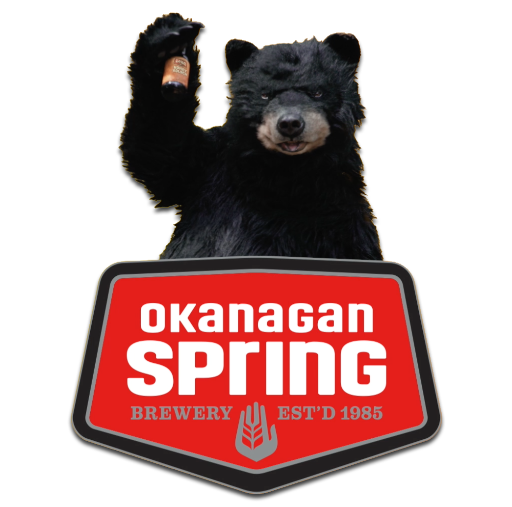 Okanagan Spring Logo with Beary, the Honey Kolsch bear