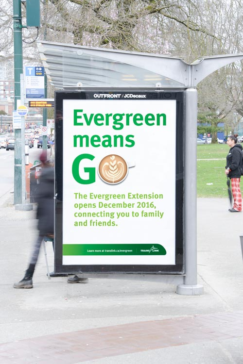 TransLink Evergreen Line Transit Shelter Advertisement