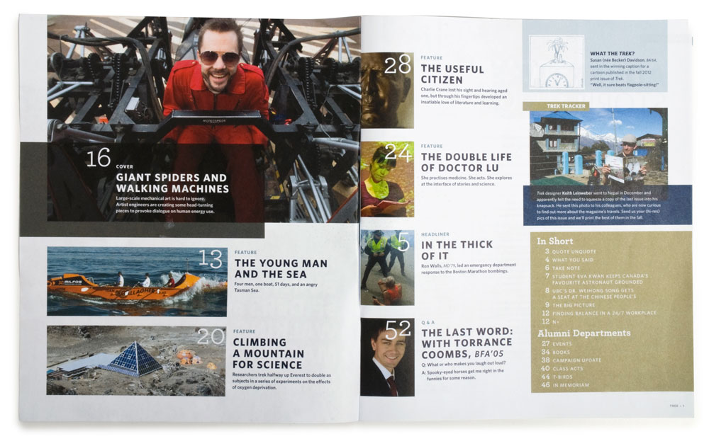 Inside of the Alumni UBC magazine 'Trek'